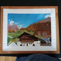 Ölfarben, Landschaft, Herbst, Zeichnungen