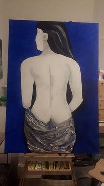 Acrylmalerei, Frauenakt in blau, Malerei, Blau