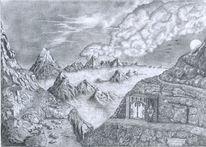 Vulkan, Zeichnung, Zwerg, Weg
