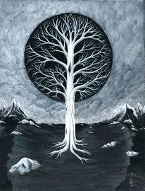 Stein, Lebensbaum, Baum, Schwarz