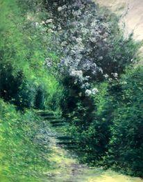 Landschaft malerei, Kamelien, Garten, Tessin