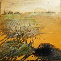Gold, Herbstlicht, Weiden, Fließende farben