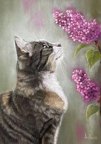 Tierportrait, Pastellmalerei, Katze, Blumen