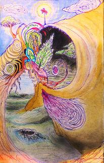 Visionär, Aquarellmalerei, Bunt, Psychedelisch