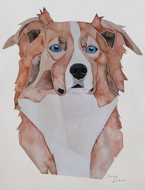 Malen, Nach fotovorlage, Hundeportrait, Aquarellmalerei