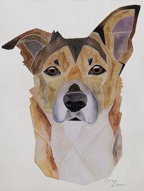 Auftragsarbeit, Mischling, Aquarellmalerei, Hundeportrait