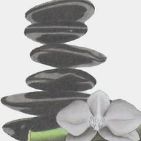 Balance, Blumen, Stein, Zeichnungen