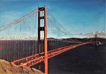 Ölmalerei, Golden gate, Brücke, Malerei