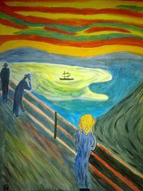 Meer, Brücke, Landschaft, Malerei
