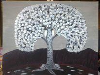 Landschaft, Abstrakte malerei, Baum, Mondschein