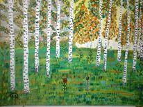 Abstrakte malerei, Birken, Wald, Herbst