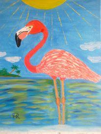 Abstrakte malerei, Flamingo, Meer, Malerei