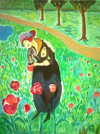 Garten, Landschaft, Abstrakte malerei, Menschen