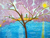 Landschaft, Abstrakte malerei, Frühling, Kirschblüte
