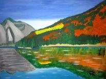 Abstrakte malerei, Berge, See, Natur