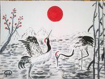 Abstrakte malerei, Kranich, Landschaft, Malerei