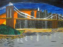 Landschaft, Brücke, Abstrakte malerei, Stadt