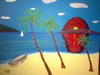 Palmen, Abstrakte malerei, Meer, Strand