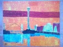 Landschaft, Häuser, Skyline, Wasser