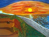 Abstrakte malerei, Sonnenuntergang, Meer, Malerei