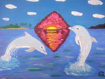 Abstrakte malerei, Landschaft, Meer, Delfin