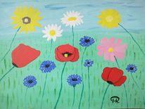 Abstrakte malerei, Wiese, Blumen, Fantasie
