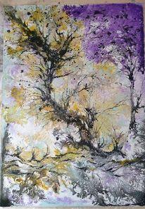 Leben, Baum, Acryl pouring, Natur