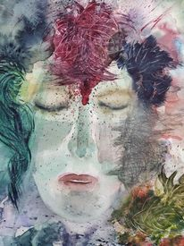 Menschen, Aquarellmalerei, Blau, Abstrakt
