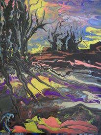 Abstrakt, Lila, Landschaft, Gelb