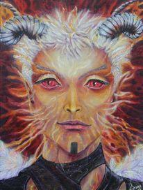 Flammen, Luzifer, Gesicht, Malerei