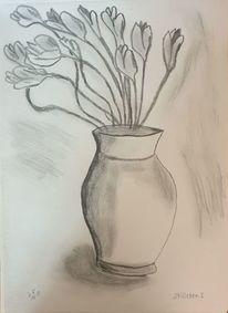 Blumen, Vase, Stillleben, Zeichnungen