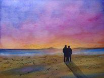 Sonnenuntergang, Aquarellmalerei, Paar, Landschaft