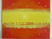 Horizont, Gelb, Rot, Malerei