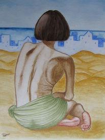 Frau, Wüste, Meer, Aquarell