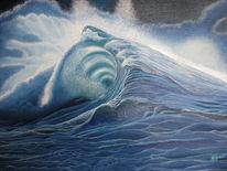 Blau, Landschaft malerei, Landschaft, Die welle