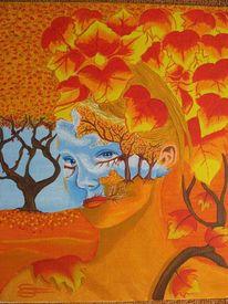 Herbstlaub, Portrait, Frau, Malerei