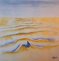 Strand, Mann, Sand, Aquarell