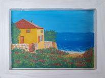 Blumenweide, Meer, Strand, Haus
