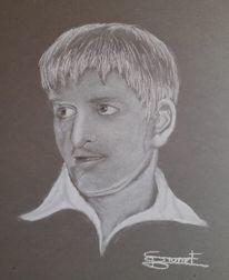 Mann, Portrait, Monochrom, Malerei