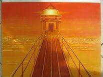 Leuchtturm, Sonnenuntergang, Meer, Malerei