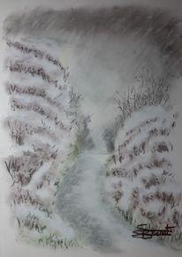 Schnee, Regen, Weg, Malerei