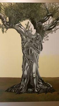 Baum, Paar, Holz, Malerei