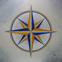 Kreis, Stern, Blau, Malerei