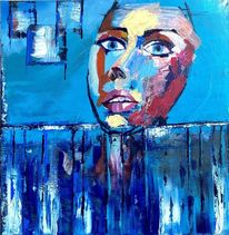 Frau, Acrylmalerei, Emotion, Kontrast