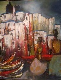 Häuser, Fischerboot, Menschen, Malerei