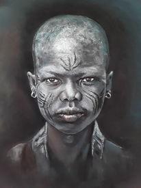 Afrika, Menschen, Pastellmalerei, Kinder