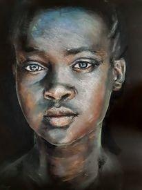 Pastellmalerei, Portrait, Afrika, Zeichnungen