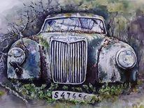 Auto, Schweden, Oldtimer, Aquarellmalerei