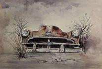 Auto, Oldtimer, Aquarellmalerei, Aquarell
