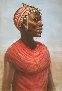 Kenia, Black lady, Afrika, Ölmalerei